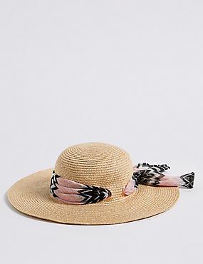 Eyelet Scarf Trim Sun Hat