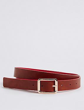 Faux Leather Reversible Jeans Hip Belt