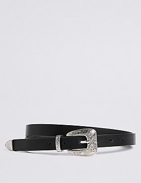 Faux Leather Buckle Detail Hip Belt