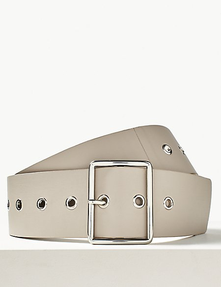 Faux Leather Buckle Waist Belt