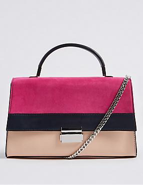 Faux Leather Colour Block Tote Bag
