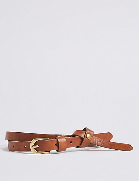 Faux Leather Knotted Skinny Jeans Hip Belt