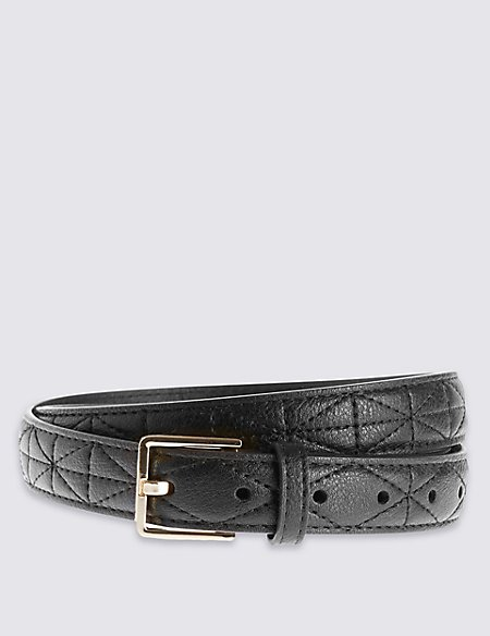 Faux Leather Quilted Belt