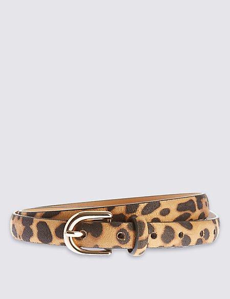 Faux Leather Leopard Belt