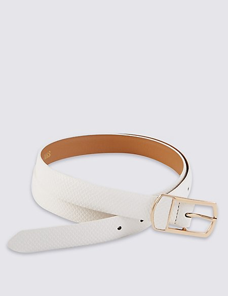 Faux Leather Inlay Buckle Hip Belt