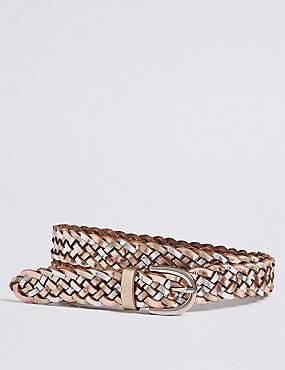Leather Metallic Weave Hip Belt
