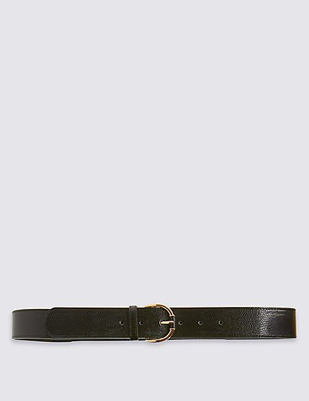 Faux Leather Round Buckle Waist Belt