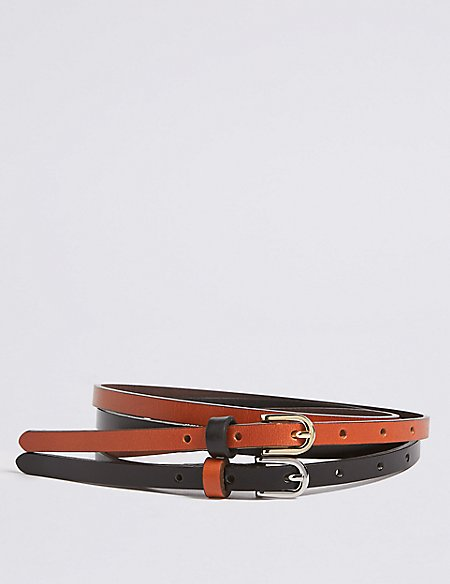 2 Pack Leather Skinny Hip Belts