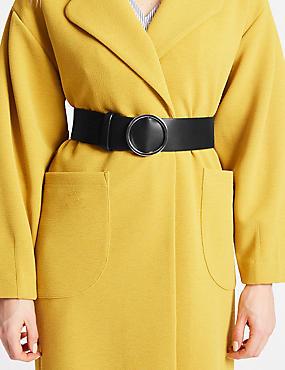 Faux Leather Round Buckle Waist Belt, BLACK, catlanding