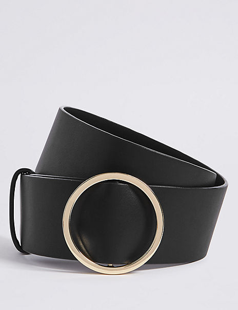 Faux Leather Round Buckle Waist Belt