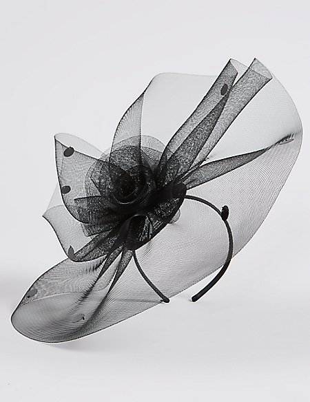 Large Spotted Mesh Fascinator