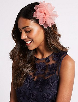 Marks and Spencer Flower Clip Fascinator coral Q0l9m