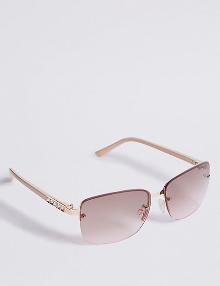 Rimless Stud Square Sunglasses