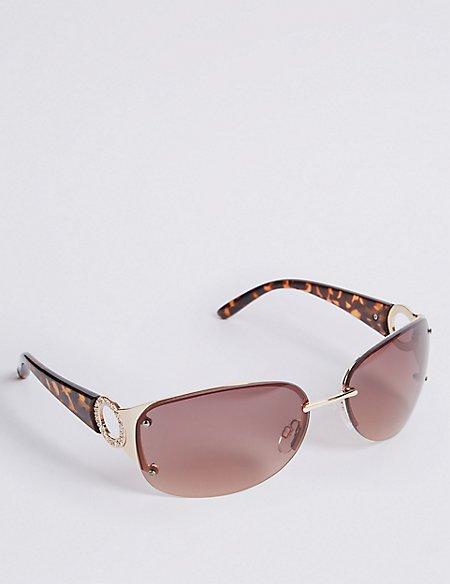 Rimless Diamante Square Sunglasses