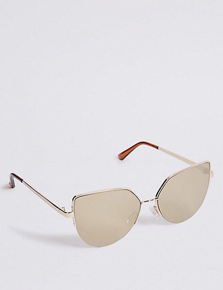 Semi Rimless Cat Eye Sunglasses