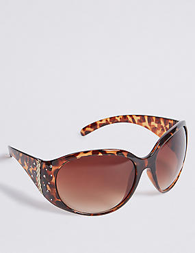 Wide Arm Bling Square Sunglasses