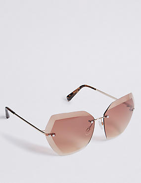 Rimless Butterfly Square Sunglasses