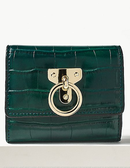 Faux Leather Ring Detail Purse