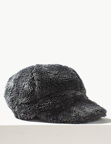Faux Fur Baker Boy Hat