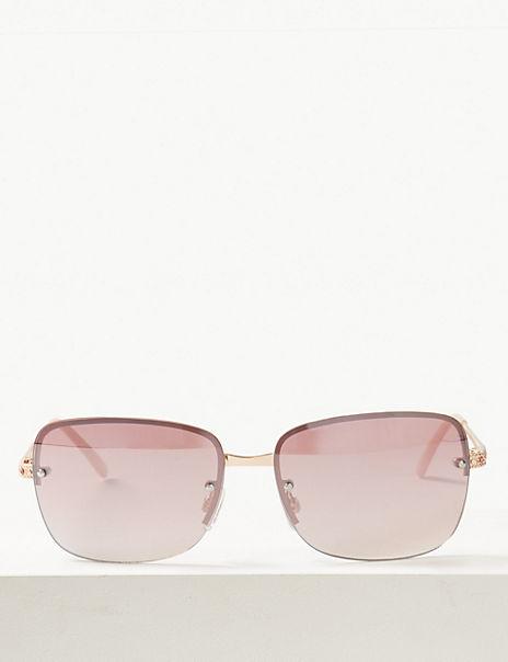 Bling Rimless Square Sunglasses