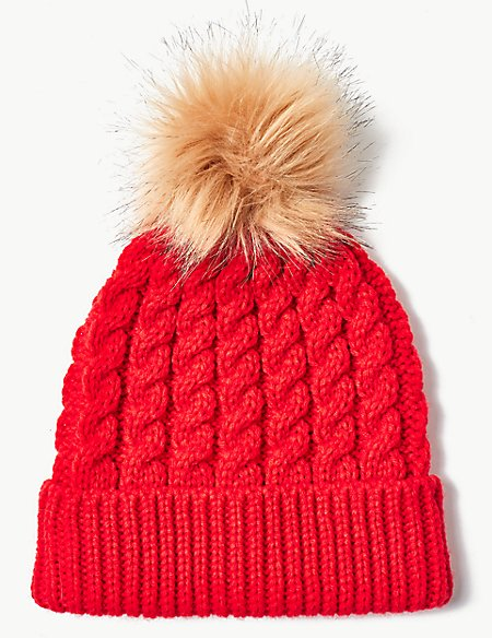 Faux Fur Bobble Beanie Hat