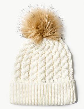 Faux Fur Bobble Beanie Hat