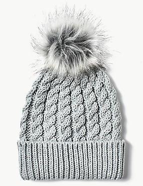 Fur Bobble Beanie Hat