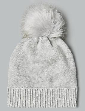 Cashmere Bobble Beanie Hat b0be1fbfc400