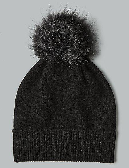 Cashmere Bobble Beanie Hat