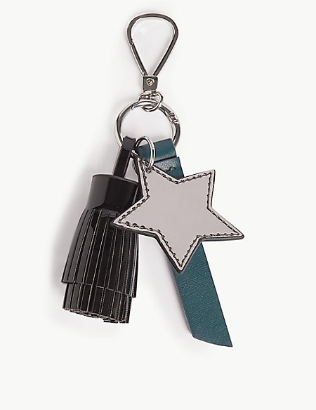 Faux Leather Star Keyring