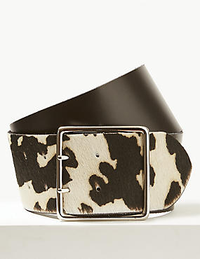 Leather Animal Print Waist Belt