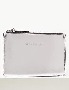 Faux Leather Clutch Purse