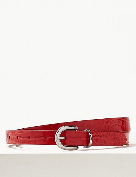 Faux Leather Jeans Hip Belt