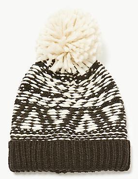 Stitched Pom Beanie Hat