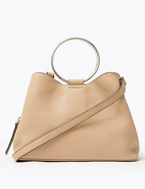 Leather Ring Grab Cross Body Bag