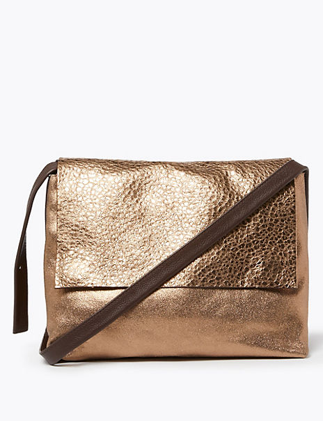Metallic Leather Messenger Bag