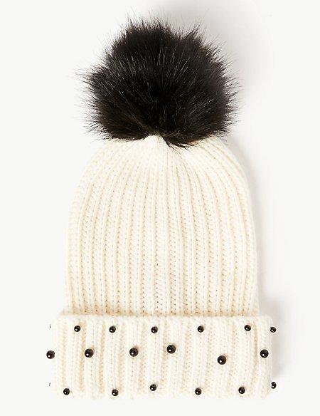 Embellished Pearl Pom Beanie Hat