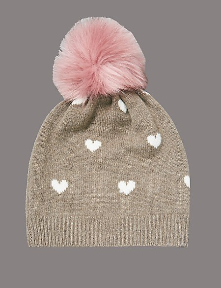 Pure Cashmere Heart Print Beanie Hat