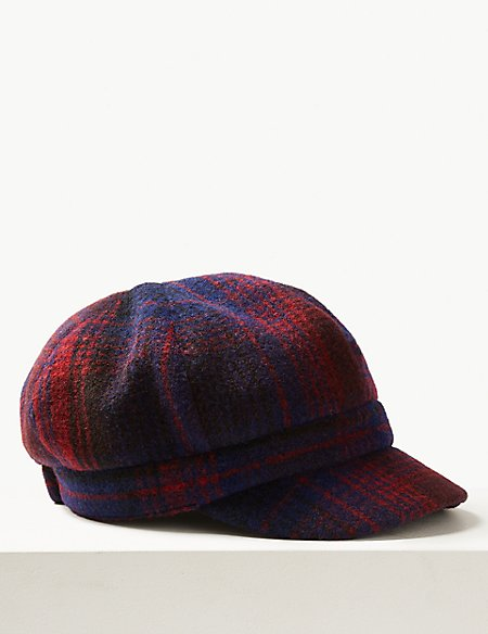 Checked Baker Boy Hat