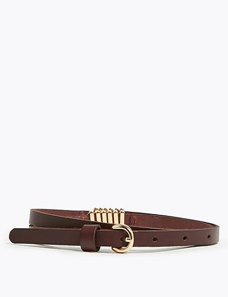 Skinny Leather Chevron Detail Waist Belt