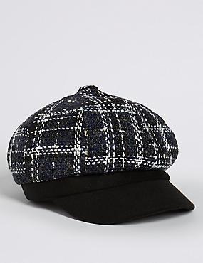 Checked Baker Boy Hat