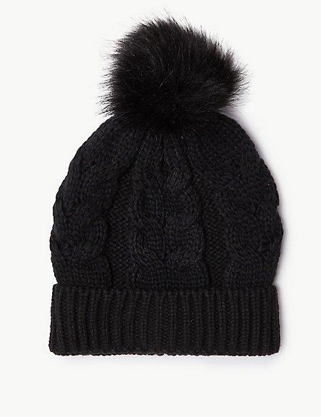 Product images. Skip Carousel. Cable Knit Faux Fur Beanie Hat 8a4d4d45702