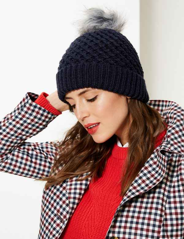 Textured Beanie Hat. M S Collection 9a38e2d7b3