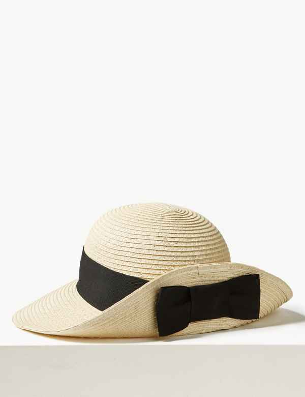 0c8742460185c9 Grosgrain Bow up Brim Sun Hat. M&S Collection