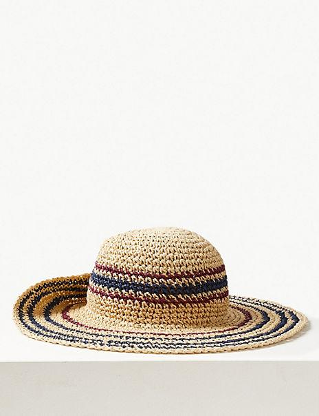 Crochet Look Striped Sun Hat