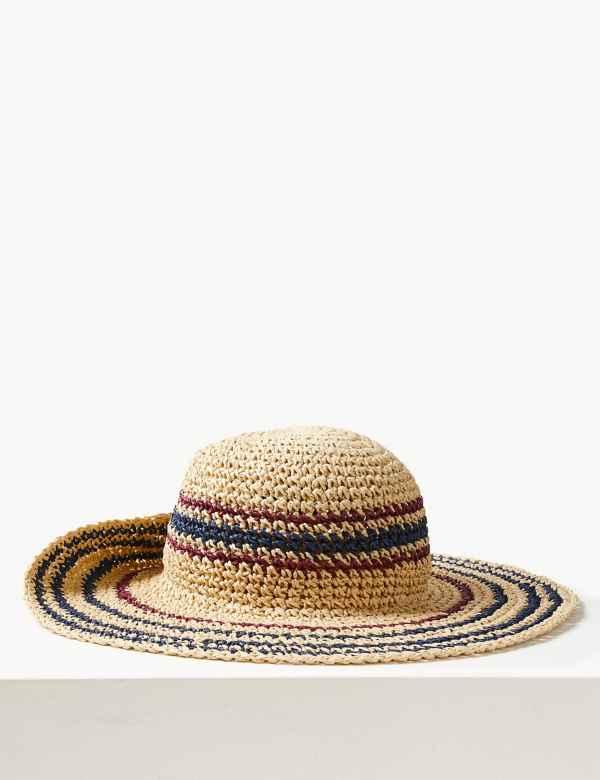 633d8698a3a3a Crochet Look Striped Sun Hat