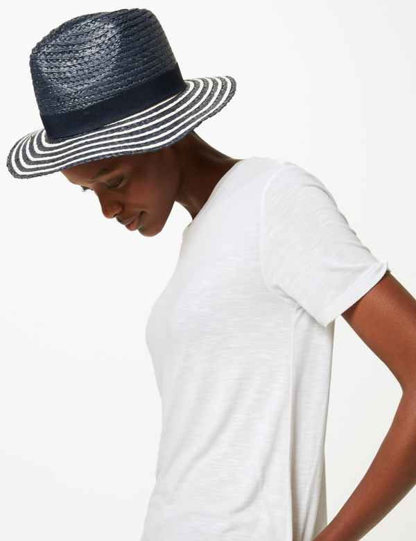 new style a3fdb cb507 Striped Fedora Hat. M S Collection