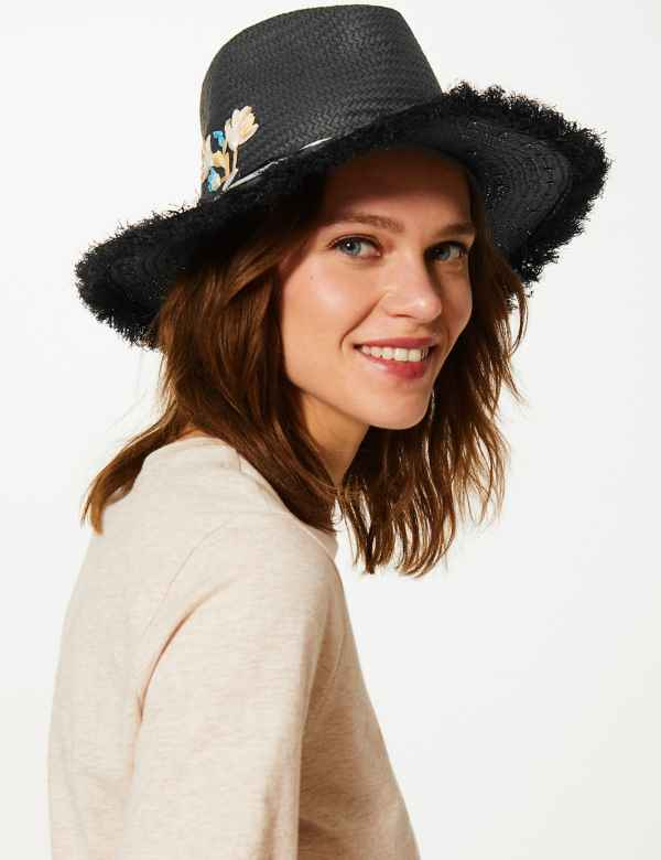 2f07a3151ff65 Embroidered Fedora Hat. M S Collection