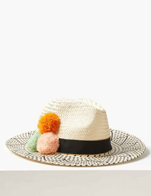 new products 558c7 2915b Pom-Pom Fedora Hat