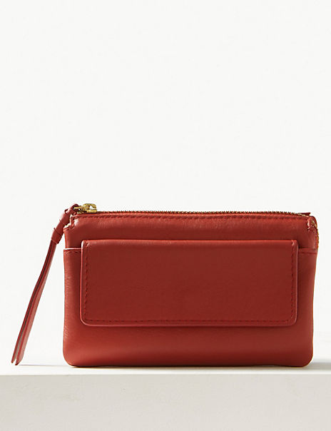 Leather Zip Detail Travel Wallet